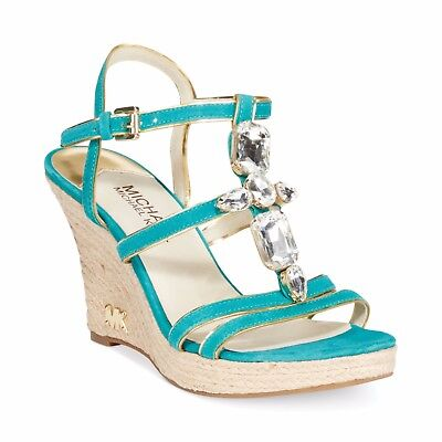 - MICHAEL KORS JAYDEN MK LOGO AQUA GOLD TRIM JEWELED WEDGES US 8 I LOVE SHOES
