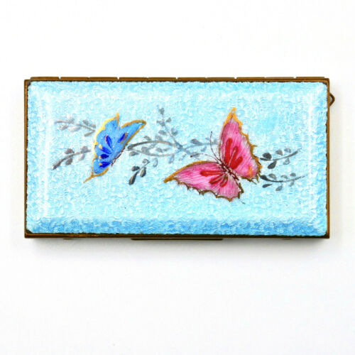 Butterflies Blue Guilloche Enamel Pill Box Felt Lined Brass Frame 1930