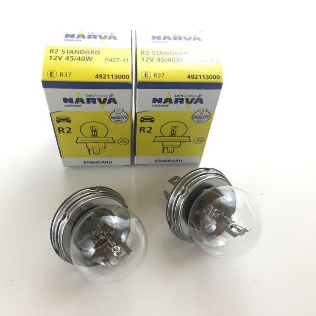 2 x NARVA GERMANY R2 LAMPE LAMP 12V 12 V 45/40 W P45t GLÜHLAMPE 49211 ECE R37