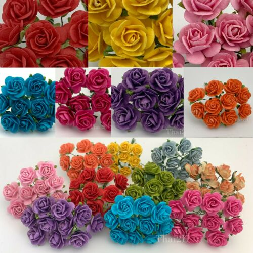 """3/4"""" or 2cm Open Roses Rainbow Mulberry Paper Flower Wedding Scrapbook Crafts"""