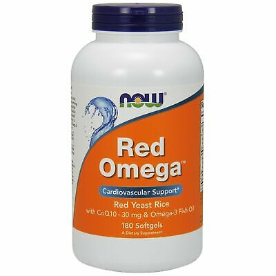 Now Foods RED OMEGA Rice Yeast + CoQ10, Omega-3 Fish Oil 1000 mg, 180 Softgels