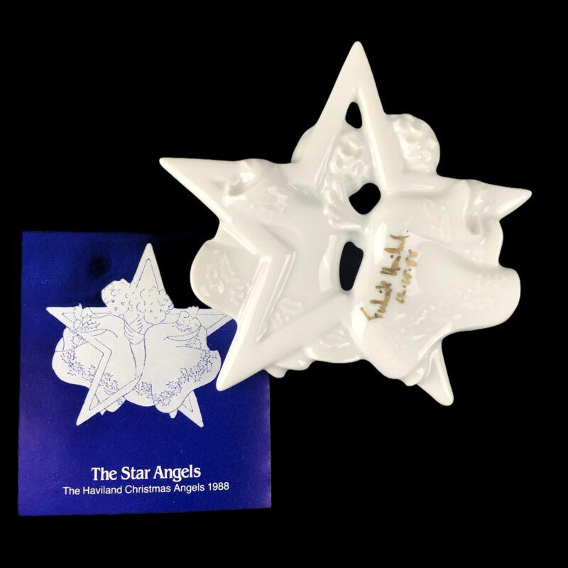 1988 Signed Frederick Haviland Limoges Christmas Ornament - The Star Angels
