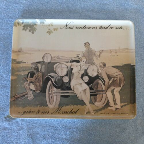 "Vintage italian Marchal Headlight advertising tray French 1920 scene. 9.5"" x 12"""
