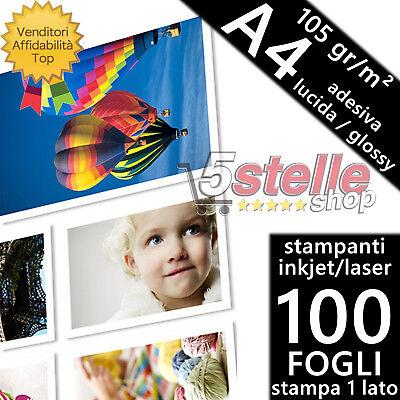 100 FOGLI CARTA FOTOGRAFICA A4 ADESIVA GLOSSY LUCIDA 105 GR. STAMPA INKJET/LASER