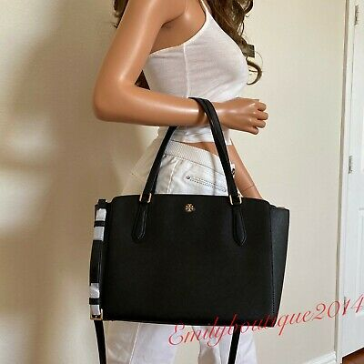 NWT TORY BURCH EMERSON SMALL TOP ZIP BLACK SAFFIANO LEATHER TOTE SHOULDER BAG