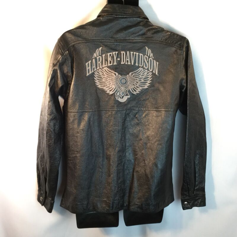 HD Harley Davidson Black Leather Riding Shirt 1/2 zip Pullover Embroidered M