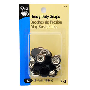 Dritz Heavy Duty Snaps Black - Size 24, 5/8 Inch, 7 Sets/Package 5-3