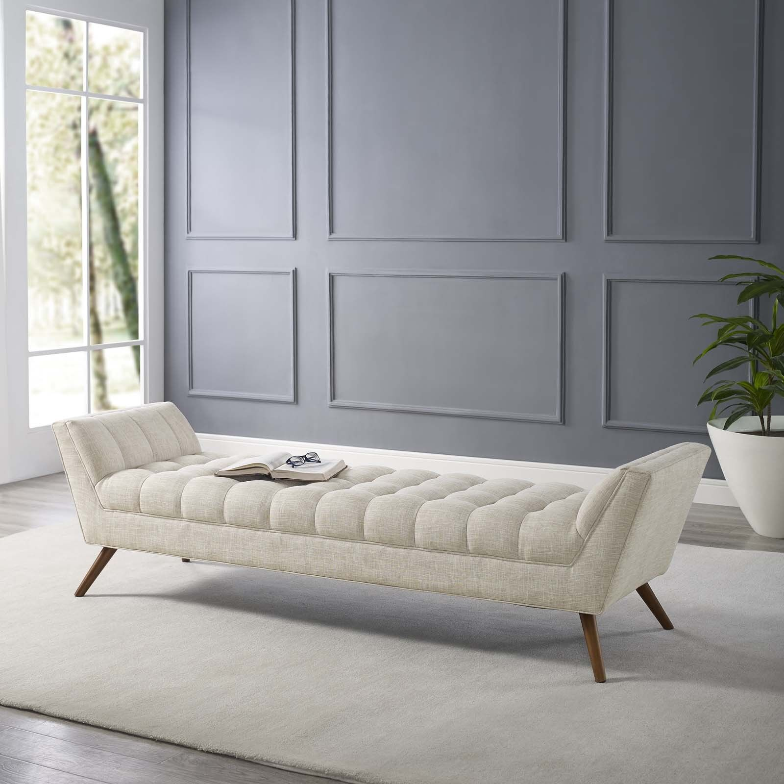 Mid-Century Modern Tufted Beige Upholstered Fabric 53
