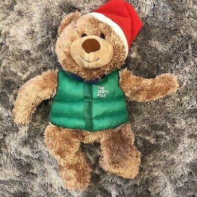 Hallmark Teddy Bear Plush North Pole Green Vest Santa Hat Jingle Christmas