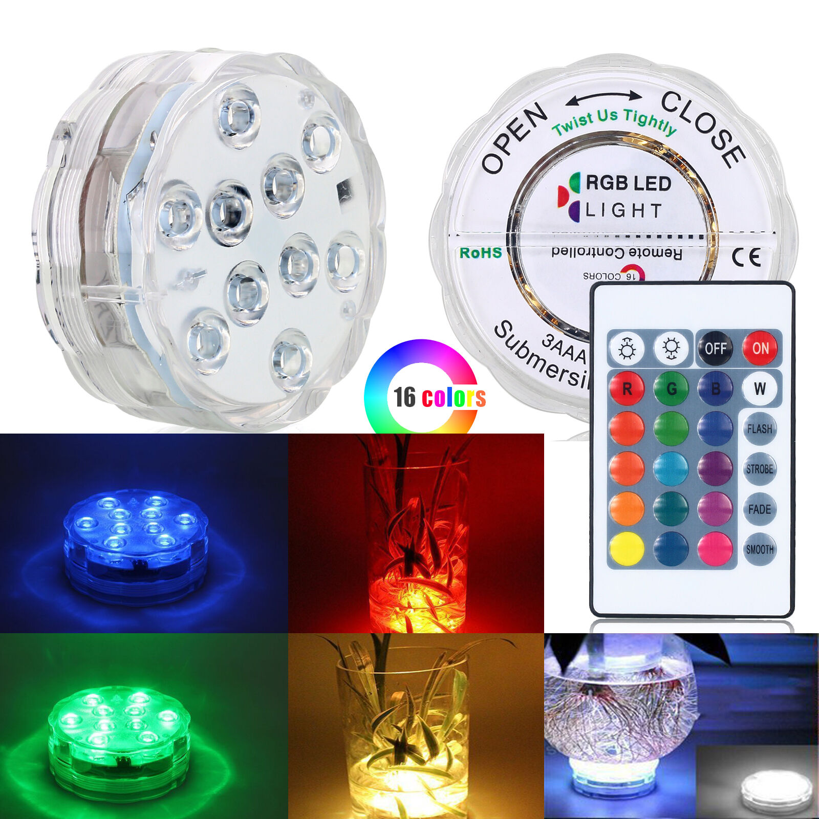 Submersible 10LED Waterproof Light RGB for Vase Wedding Party Fish Tank Decors