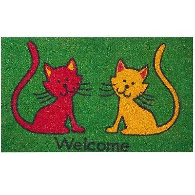 Coir Cat Doormat Welcome Front Door Mat Indoor Outdoor Rug 18 x 30 Inches  Home Coir Door Mat