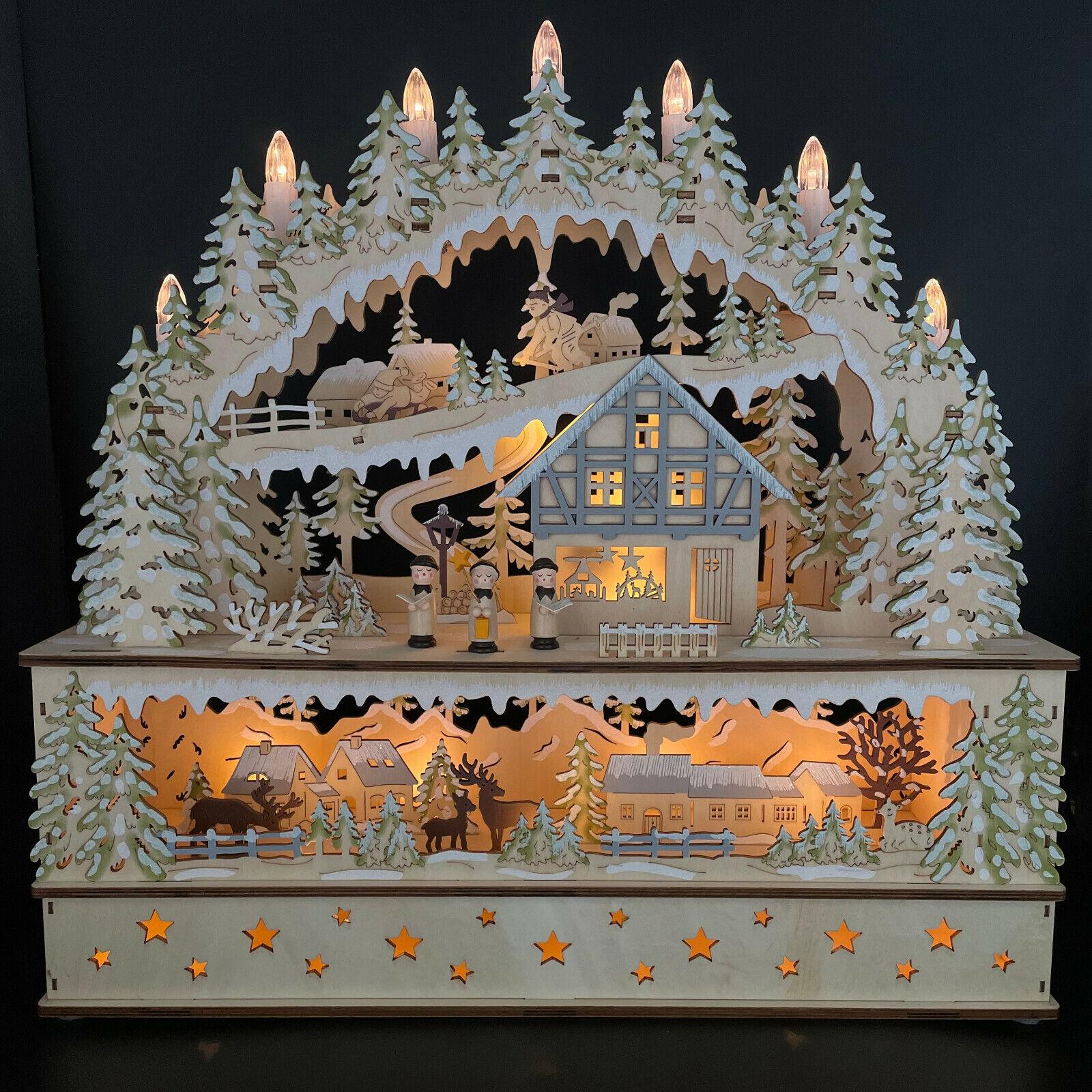 Großer Schwibbogen mit LED Beleuchtung & Timer - Winterlandschaft, Lichterbogen