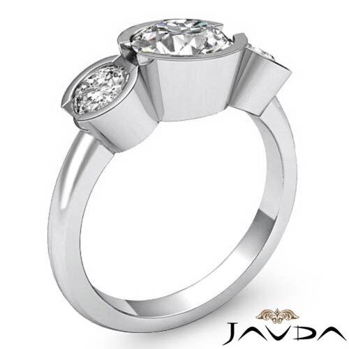 Platinum 1.6ct 3 Three Stone Round Shape Javda Diamond Engagement GIA F SI1 Ring 2
