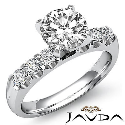Round U Cut Prong Diamond Engagement GIA Certified H Color SI1 Clarity 1.31 Ct