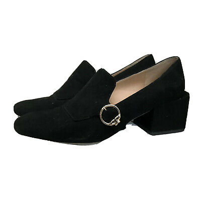 """Tory Burch Womens Tess 2"""" Square Heeled Loafer Suede Black Size 8 M Shoes"""