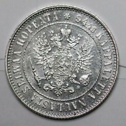 1915-s Finland under Russian Empire Silver 1 Markka. Gem UNC. - 359