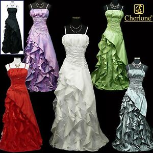 Cherlone-Satin-Ball-Lace-Sparkle-Long-Prom-Wedding-Evening-Bridesmaid-Gown-Dress