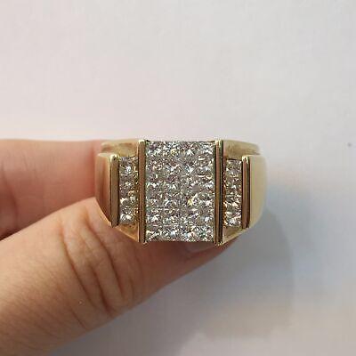 2.25 Ct Princess Cut Diamond Invisible Set Men's Ring in 14k Gold F-G VS2 -
