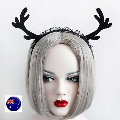 Women Girls Christmas Reindeer Deer Antlers Costume Ear Party Hair headband Prop