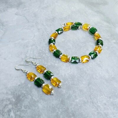 (Crystal Jewelry - Beaded Bracelet and Earrings Set - Yellow Green Team Colors)