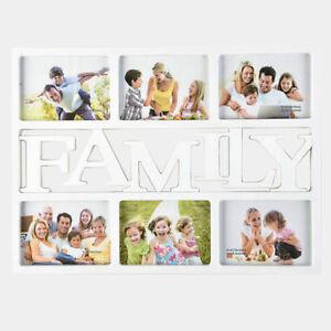 Family Large Memories Photo Frame 6 Multi Aperture Frame Ideal Gift White