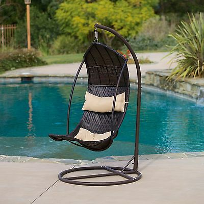 Outdoor Patio Furniture Brown PE Wicker Swinging ...