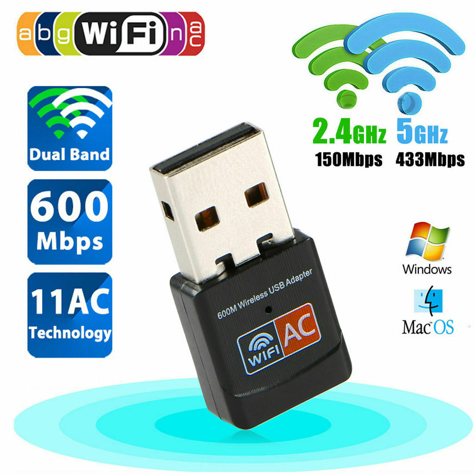 600Mbps Dual Band 2.4G 5G Hz Wireless Lan Card USB PC WiFi Adapter 802.11AC