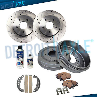 Front Drill Brake Rotor & Ceramic Pad + Rear Drum & Shoe for 04-08 Toyota Prius