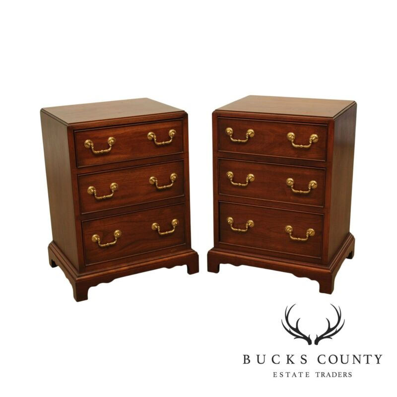 The Bartley Collection George III Style Pair Cherry Chests Nightstands