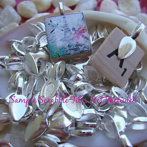 **ON SALE** 100 Silver Glue On Bails for Making Pendants Teardrop Spoon