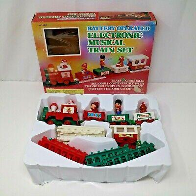 Vintage 1985 Battery Operated Electronic Musical Train Set Santa Christmas Tree