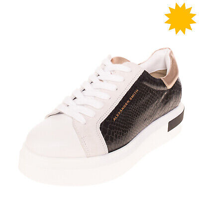 RRP €175 ALEXANDER SMITH Leather Sneakers EU 37 UK 4 US 7 Metallic Made in Italy