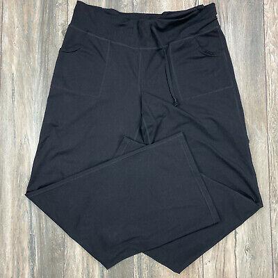 Zella Womens Size 8 Yoga Pants Bootleg Black elastic wasit pockets Atheltic