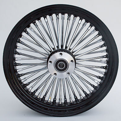 "Black & Chrome Ultima 48 King Spoke 16"" x 3.5"" Rear Wheel for Harley and Models"