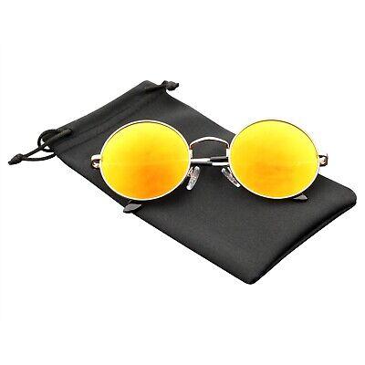 Premium Round Metal Mirrored Full Mirror Circle (Red Circle Sunglasses)