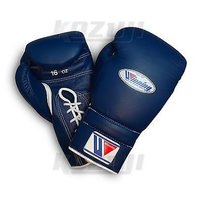 Winning Pro Boxing Gloves MS-600 Navy, 16oz Lace-up Design, New from Japan