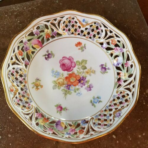 "Schumann Chateau Dresden Flowers Bowl 7.5"" Pierced Reticulated Germany"
