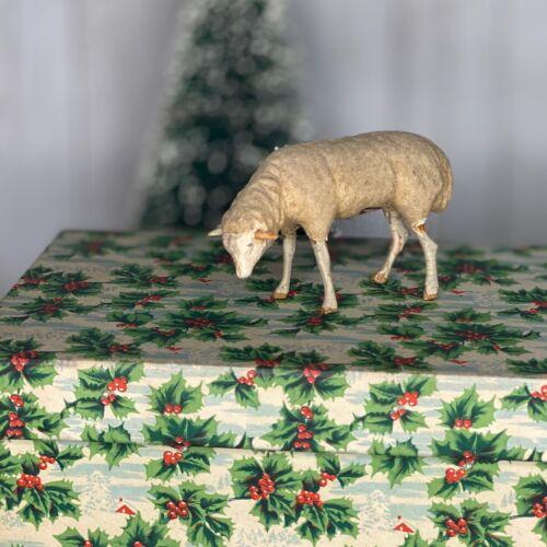 Antique Putz Christmas Sheep Composition Stick Legs Make-Do Repairs