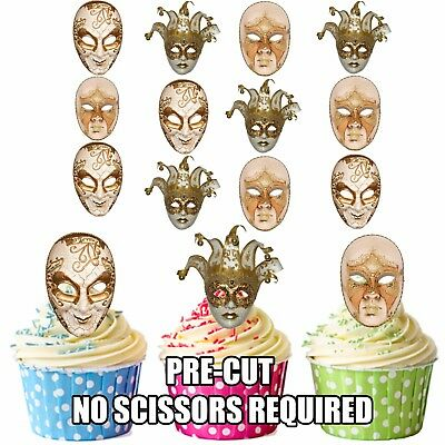 PRECUT Masquerade Ball Party Venetian Masks 12 Edible Cupcake Toppers Decoration