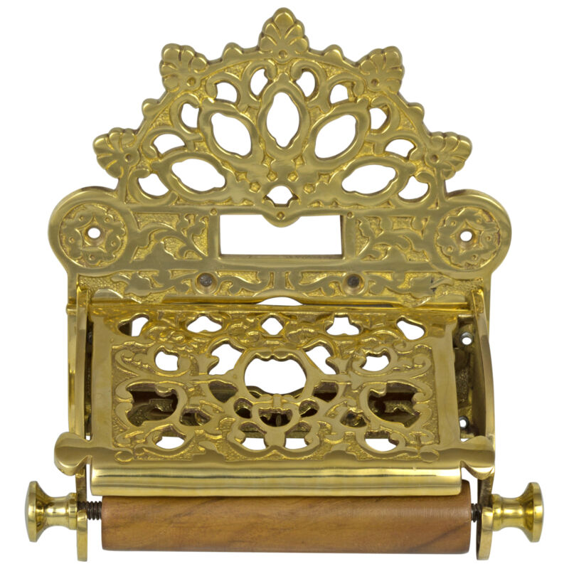 Solid Brass Wall Toilet Paper Holder with Fan English Crown Top Antique Replica