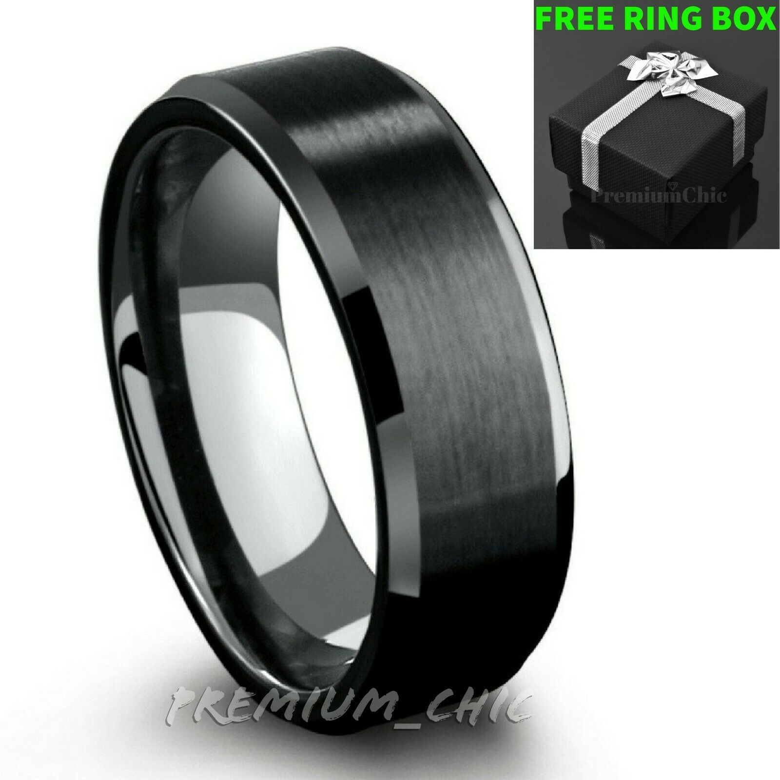 Black Tungsten Carbide Mens Engagement Wedding Band Ring Bru