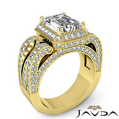 3 Row Shank Radiant Diamond Engagement Pave Ring GIA G Color SI1 Clarity 2.7 Ct 7