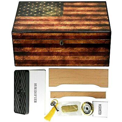 100 Cigar Count Locking Cedar Cigar Humidor w/ Humidifier + Hygrometer HUMHSOG
