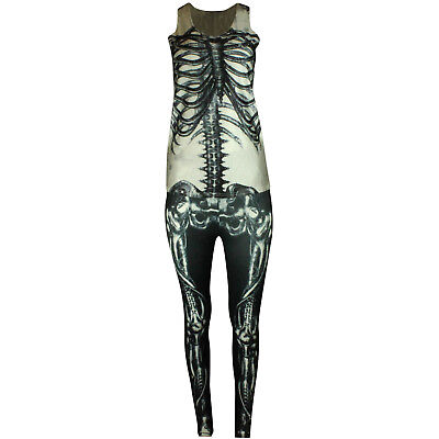 Xray Kostüm (SKELETON WOMENS HALLOWEEN OUTFIT FANCY DRESS BONE LEGGINGS VEST TOP COSTUME XRAY)