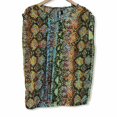 KUT Colorful Snake Print Pleated Panel Blouse Sz S