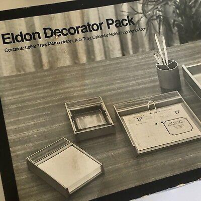 Vintage Eldon Decorator Pack Desk Top Organizer Mail Calendar Memo Pen Holder