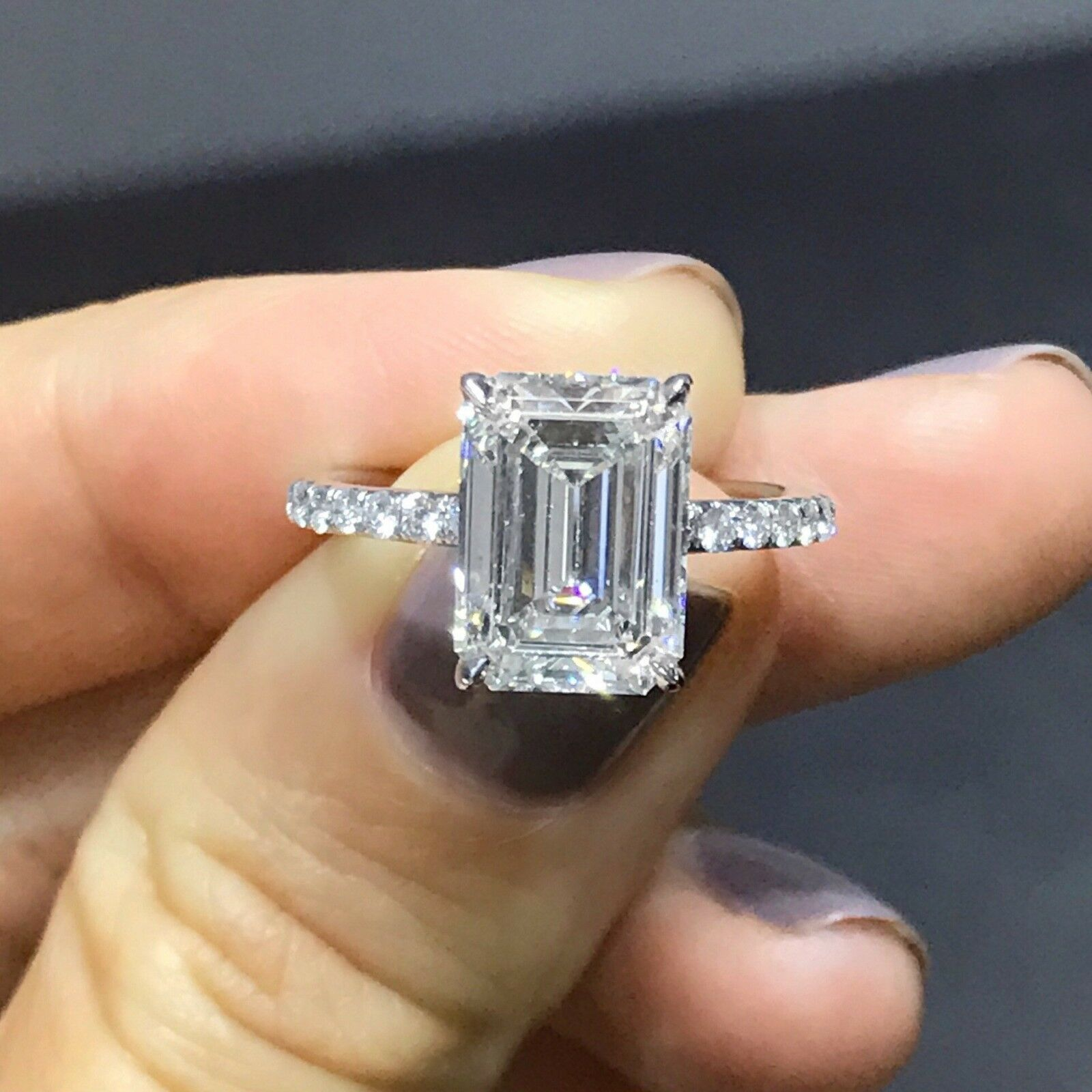 1.40 ct. Natural Emerald Cut U-Pave Diamond Engagement Bridal Set Ring GIA E, VS