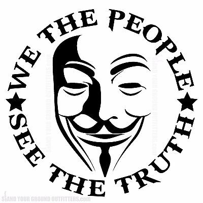 We The People Revolution V Guy Fawkes Mask Second Amendment 2A Decal Sticker - The Guy Fawkes Mask