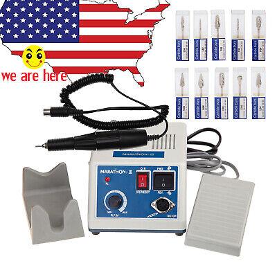 Dental Lab Marathon Iii Micromotor Polishing N3 35k Rpm Handpiece 10 Burs