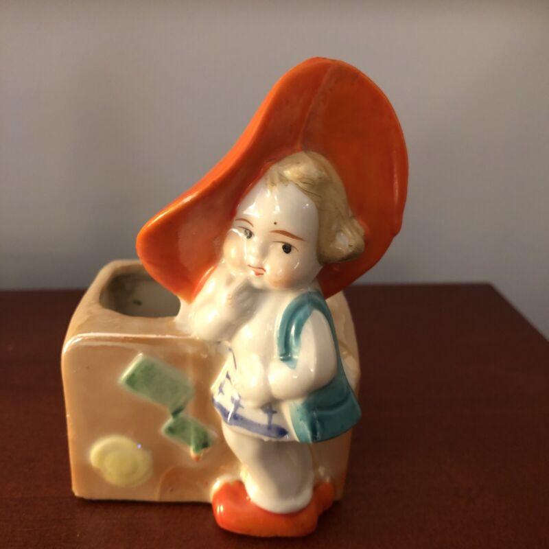 vintage Planter little girl with big orange Hat Japan figurine